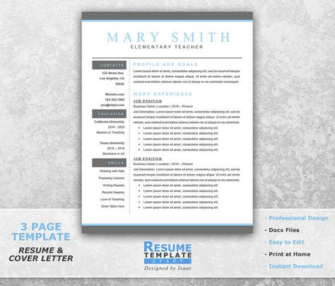 Teacher Resume Template Word Professional by ResumeTemplateStart - elementary teacher resume