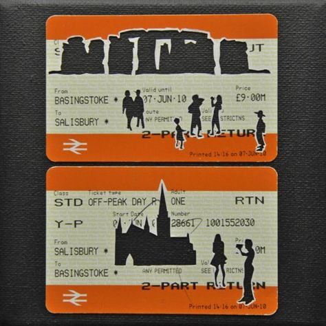 """Please Mind The Gap: Day Trip to Salisbury    Cut Out Train tickets on canvas  2011   5""""x 4""""    SOLD"""
