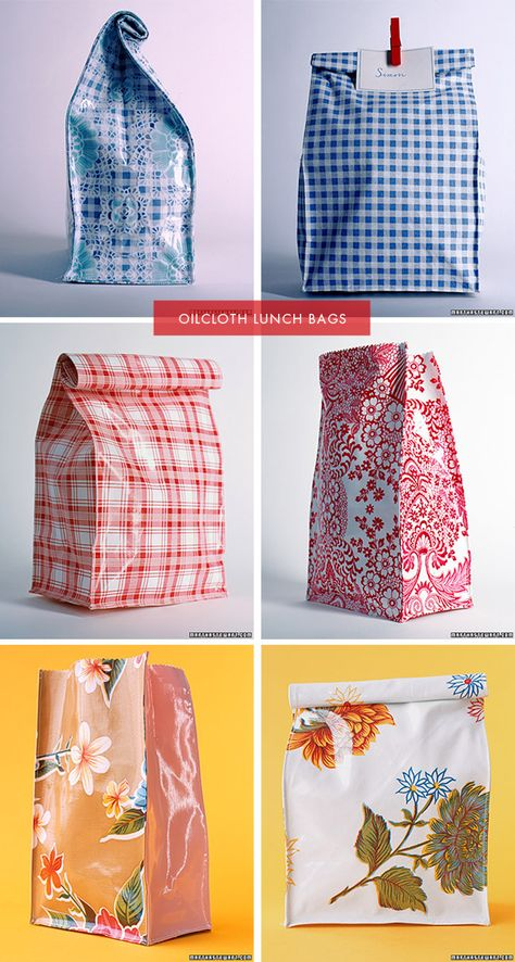 DIY - Reusable Oilcloth Lunch Bag. Step-by-Step Tutorial. Also see this Pin for furher instruction: http://pinterest.com/pin/263601384409265222/