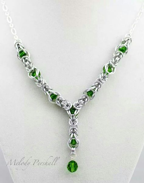 Y necklace in AA, fern green crystals #chainmaille