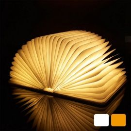 Usb Rechargeable Wooden Cover Warm White Folding Book Led Night Light Walnut Cover Book Lamp Book Lights Led Night Light