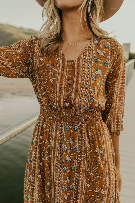 Tiny Blossom Print Boho Style Dress
