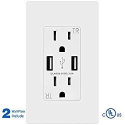 Topele Smart Fast Charger Usb Outlet Duplex Dual Usb Wall Outlet With 15amp 110v 120v Tamper Resistant Electric Receptacle Wall Outlets Outlet Usb