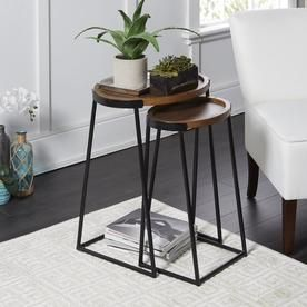 Cheyenne Products 2 Piece Walnut Wood Accent Table Set At Lowes