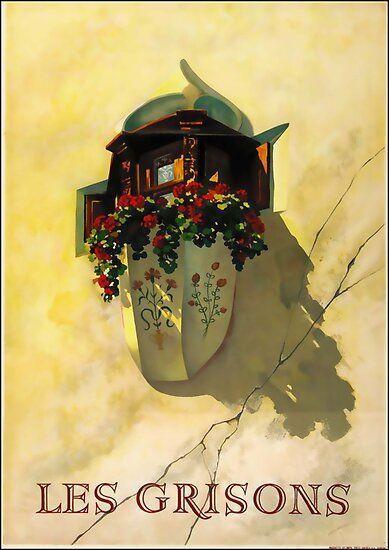 Les Grisons Vintage Travel Poster Poster Von Stickart Marek Plakat Poster Und Reisen