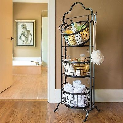 3 Tier Storage Basket Floor Stand Fruit Bathroom Kitchen Vegetables Laundry Toys Guest Basket Tiered Basket Stand Floor Baskets