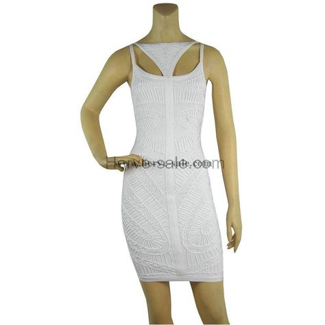 Herve Leger White Boat-neck Sleeveless Bandage Dress HL554W