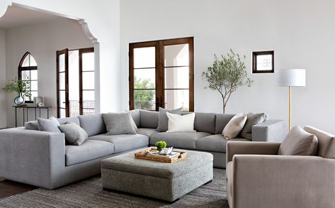 Whitley Sectional By Nate Berkus And Jeremiah B Featuring Strong Rectangular Lines Deep Low Profile Seating The Grey Sofa Is