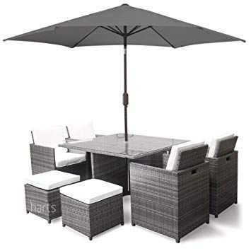 8 Seater Rattan Cube Dining Set With Parasol Dining Set Rattan Garden Furniture Outdoor Furniture Sets