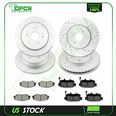 Rear Drilled /& Slotted Brake Rotors And Ceramic Pads For Acura RDX Honda CR-V
