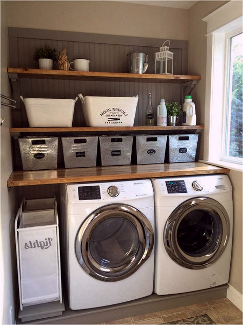 Use Shelves To Optimize Space In Tiny Laundry Rooms Laundryroomstorage Homeorganization Laundry Room Storage Shelves Laundry Mud Room Rustic Laundry Rooms