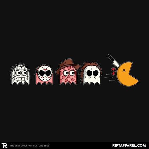 Horror Movie Mashup T-Shirt by JR Creativo. Show everyone that you are a fan of Horror Movie Mashup with this Pac-Man parody t-shirt. Halloween Wallpaper Iphone, Fall Wallpaper, Iphone Wallpaper, Halloween Horror, Halloween Art, Funny Horror, Horror Movie Meme, Horror Movie Tattoos, Horror Films