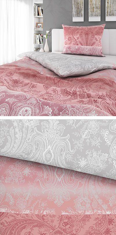 Rosa Bettwasche Mit Silber Muster 140x200 Bettwasche Rosa