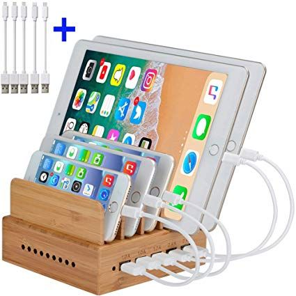 Inkotimes Bamboo Charging Station Fast Usb Charging Station For Multiple Devices Perfect For Smart Ph Usb Charging Station Cable Organizer Charging Station