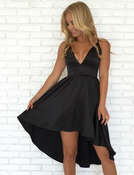 top-rated real look out for harmonious colors V Neck Black Satin High Low Homecoming Party Dresses ...