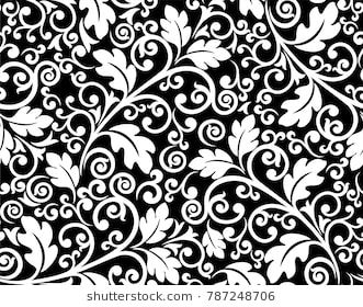 Seamless Black Background With White Pattern In Baroque Style Vector Retro Illustration Ideal For Printi In 2020 Retro Illustration Black And White Stock Images Free