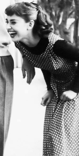 Miss Hepburn is so gorgeous. This picture shows us how beautifully joyful she was. I absolutely love this woman <3