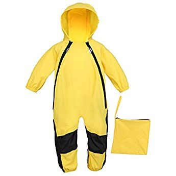 CADong Kids One Piece Rainsuit Coverall Baby Waterproof Jumpsuit All-in-One Suit