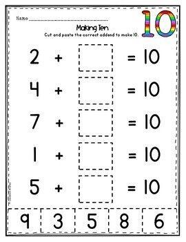 Pin On Math Kindergarten math worksheets making 10