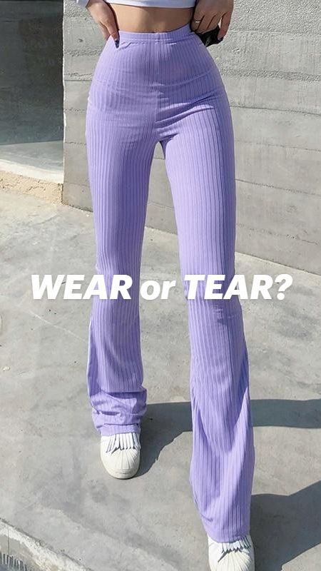 Y2K PURPLE RIBBED FLARE PANTS