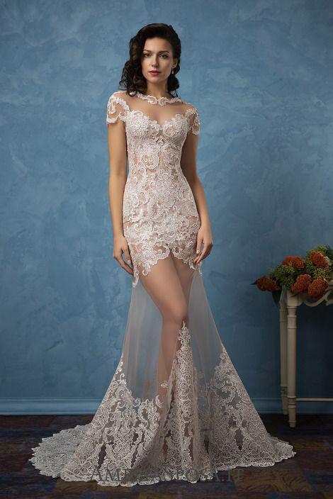 amelia sposa 2017 bridal short sleeves illusion bateau sweetheart ...