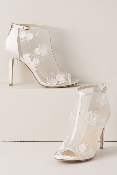 Bella Belle Floral Chiffon Bootie In White Size 6 Sparkly