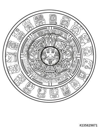 Maya Calendar Of Mayan Or Aztec Vector Hieroglyph Signs And Symbols Buy This Stock Vector And Explore Simi Maya Calendar Zodiac Signs Calendar Aztec Calendar