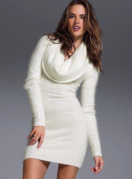 Ted Baker Cream Angora Blend Cowl Neck Sweater Dress Size 4 | eBay ...