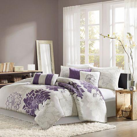 purple and grey bedding sets   ... Bedding Comforters & Sets Madison Park Lola Comforter Set Gray/Purple