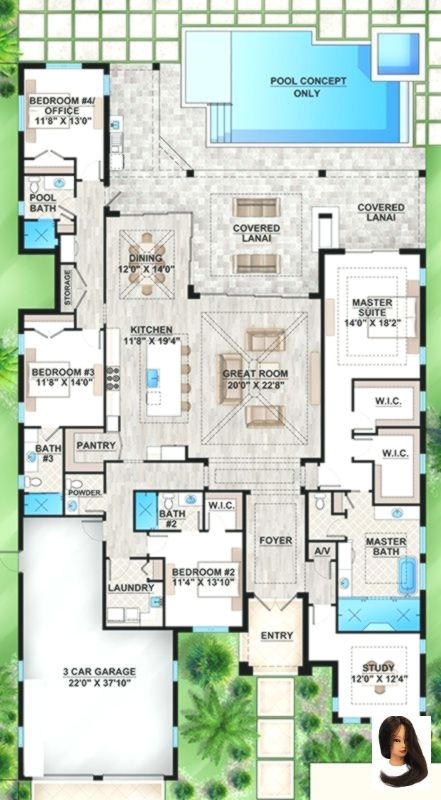 Bathrooms Bedrooms Coastal Feet House Design Plans 3d 4 Bedrooms Plan Square Coastal Plan 3 572 Square F House Blueprints Denah Lantai Rumah Arsitektur