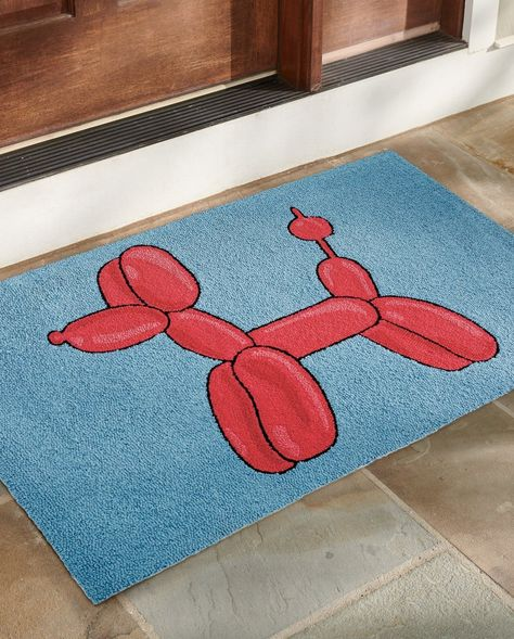 Our Balloon Poodle Hooked Door Mat is handcrafted from durable polypropylene, so it's perfect outdoors or inside, it's easy to clean, and ideal for lots of busy foot traffic.