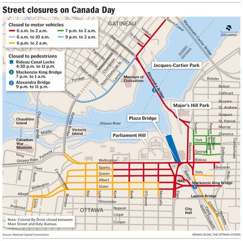 Street closures on Canada Day in Ottawa and Gatineau