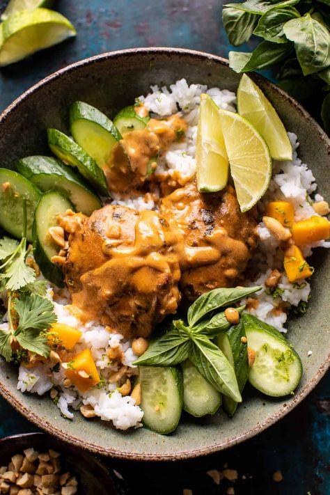 Weeknight Thai Peanut Chicken with Spicy Lime Mango   halfbakedharvest.com