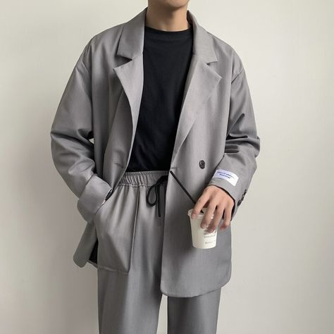 EWQ / men's wear Chic casual Suit Jacket 2020 spring trendy korean fashion patch cuff casazl oversize streetwear blazer 9Y1356 Mens Casual Suits, Casual Suit Jacket, Blazer Jacket, Men Blazer, Korean Fashion Men, Winter Outfits Men, Korean Outfits, Blazers For Men, Suit Fashion
