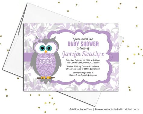 Baby Girl Baby Shower Invitations Owl Gray And Purple Owl