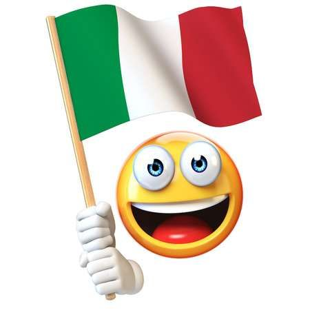 Emoji holding Italian flag, emoticon waving national flag of.. | Romanian  flag, French flag, France flag