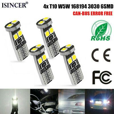 4pcs T10 3030 6smd W5w Canbus 6000k White Led Lights 168 194 2825 Bulbs Ebay In 2020 White Led Lights White Lead Led Lights