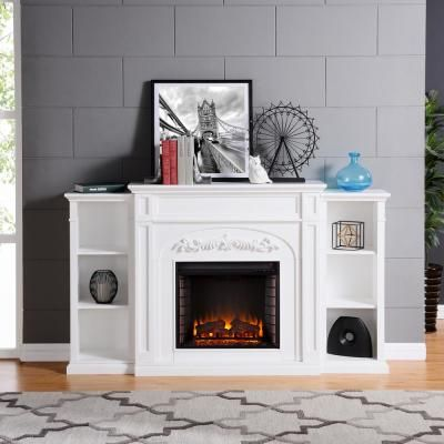 Home Decorators Collection Highland 50 In Faux Stone Mantel Electric Fireplace In Gray 103058 T Electric Fireplace White Electric Fireplace Indoor Fireplace