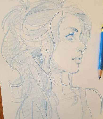 61 Trendy Hair Drawing Side View Long Drawings Sketches Portrait Drawing