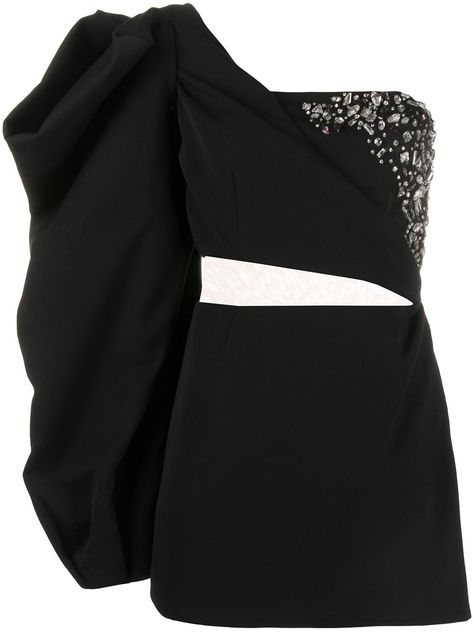 Black oversized sleeve mini dress from LOULOU featuring a geometric neckline, a one-shoulder design, crystal embellishments, a sheer panel and a straight hem. Kpop Fashion Outfits, Stage Outfits, Dance Outfits, Fashion Sets, Retro Outfits, Cute Outfits, Cute Dresses, Peplum Dresses, Bandage Dresses