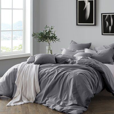 This Ash Gray Cotton Duvet Cover Set is perfect! Light Gray Bedroom, Blue Grey Bedrooms, Gray Bedroom Decor, Charcoal Bedroom, Grey Bedroom Design, Grey Duvet, Dark Grey Bedding, Grey Bed Sheets, Decorating Rooms