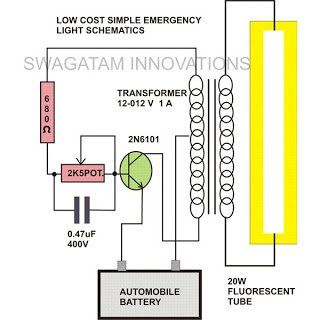 This Simple 20 Watt Home Emergency Tube Light Circuit Uses Very Few Components Yet Is Able To Produce Emergency Lighting Electronic Schematics Circuit Diagram