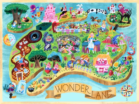 Wonderland Map print by Luke Flowers giclee print of a digital painting open edition print 16 x 12 in. This print is part of the Mary Blair Tribute Show, celebrating the work of Mary Blair. Disney Illustration, Cute Disney Drawings, Mary Blair, Disney Rooms, Disney Artwork, Galaxy Painting, Monster High Dolls, Disney Love, Alice In Wonderland