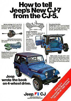 Details About 1976 New Jeep Cj 7 Vs Cj 5 Promotional Advertising Poster Jeep Cj Jeep Cj7 Vintage Jeep