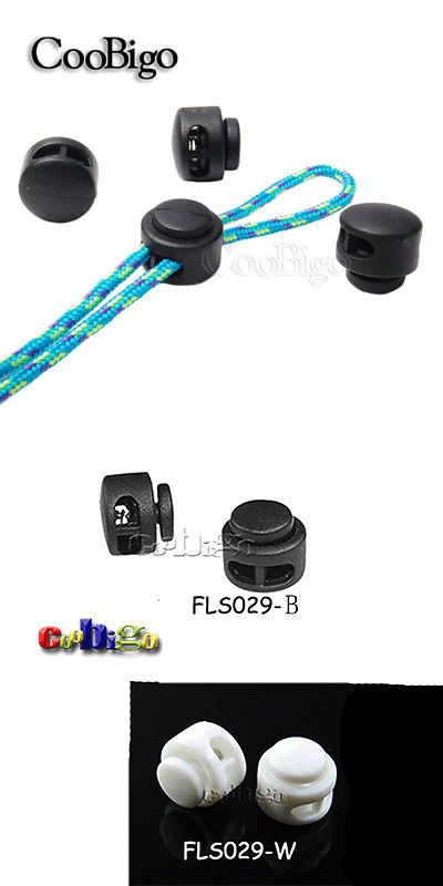 Plastic Cord Lock Toggle Stopper Clip Clamp 2 Hole For Garment