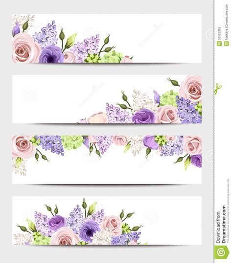 Web Banners With Pink Purple And White Roses And Lilac Flowers Vector Eps 10 Download From Purple And White Flowers Flower Phone Wallpaper Floral Banners