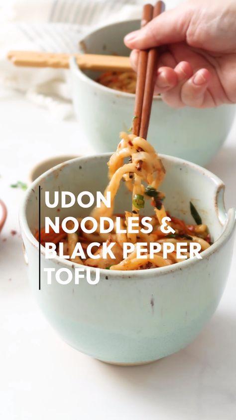 Udon Noodles with Black Pepper Tofu