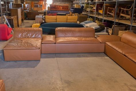 Mid Century Modern 1950s Italian Leather Pit Sectional Sofa Mcm