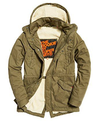Mens Superdry Rookie Oversize Hoodie Green Olive 100/% Cotton NEW