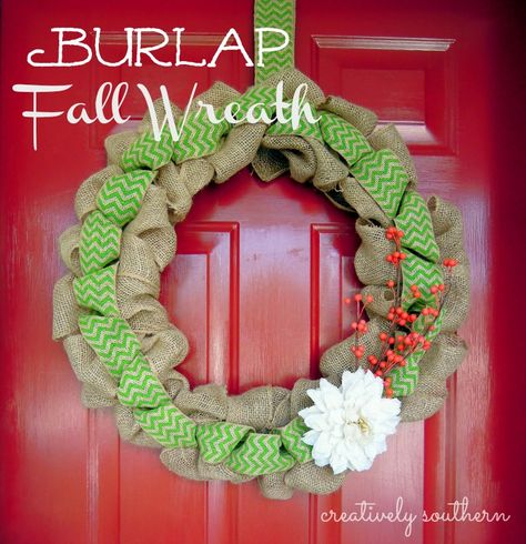 Fall Burlap Wreath from Creatively Southern.com